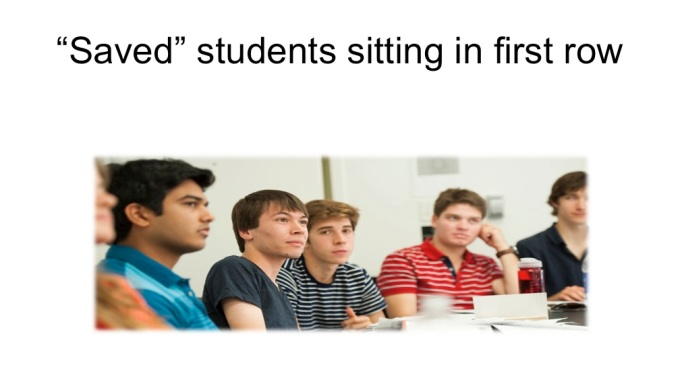 %22saved%22 students sitting in 1st row